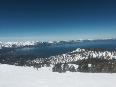 Top of Heavenly looking down at beautiful Lake Tahoe.